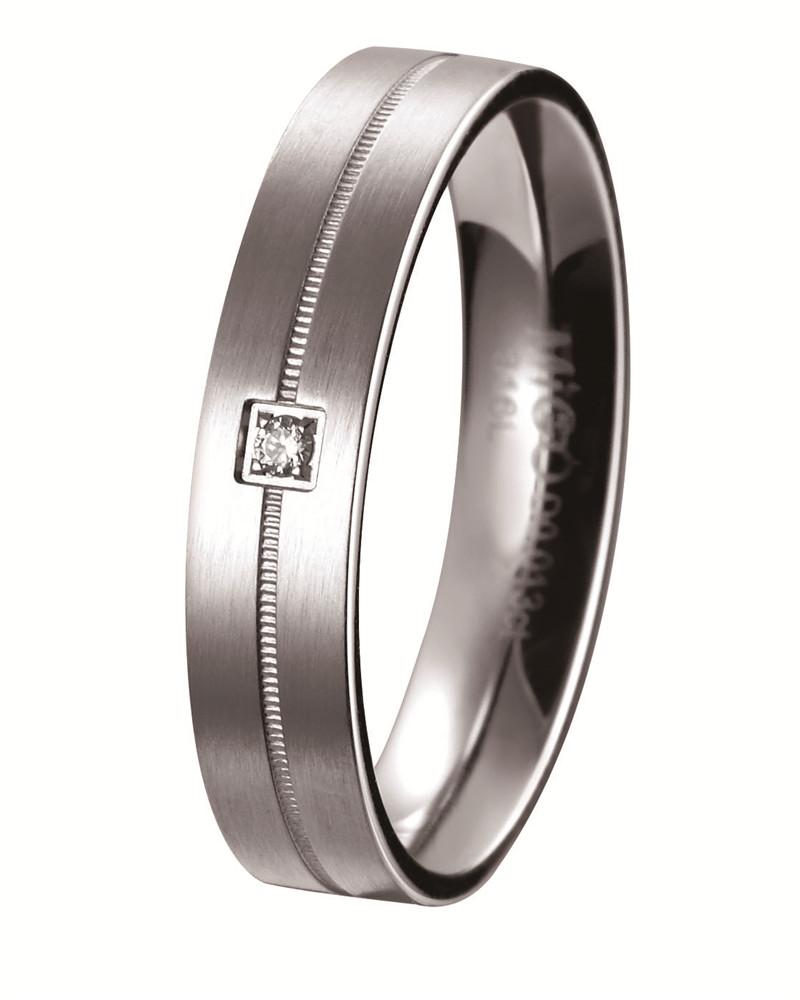 守候 白鋼天然鑽石戒指(男戒)