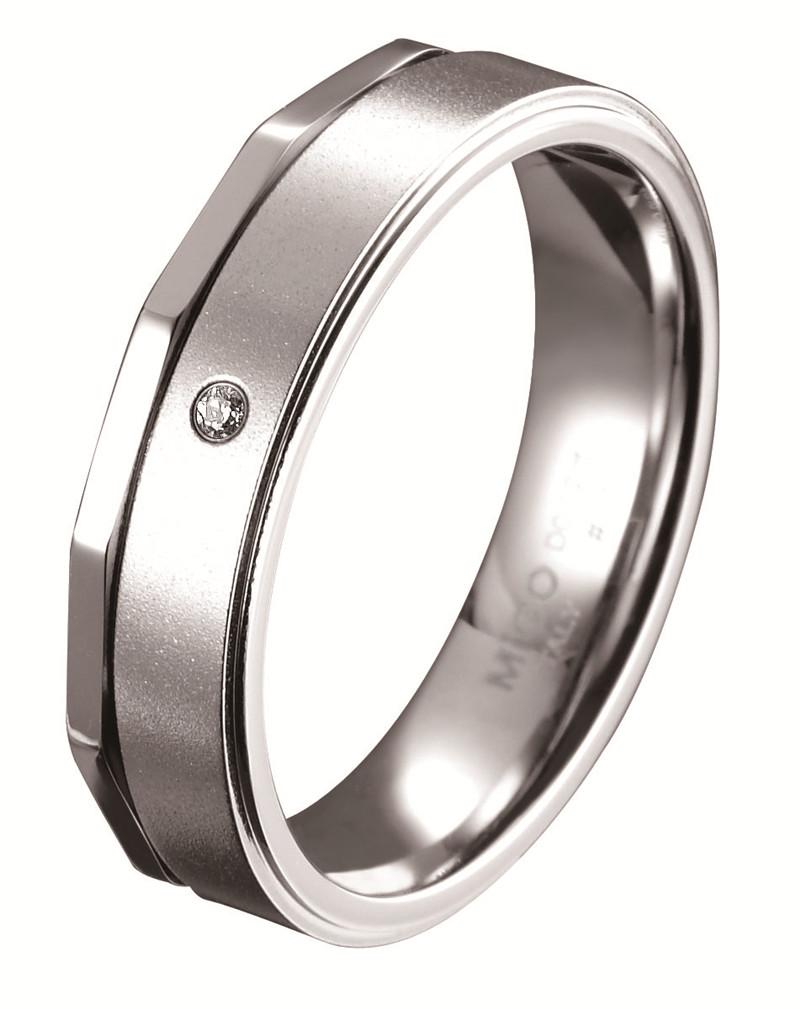 愛的時光 白鋼鑽石戒指(男戒)
