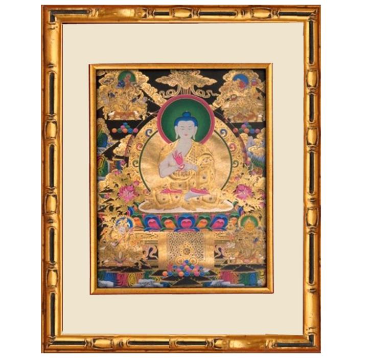 《阿彌陀佛》金雕彩繪銀唐卡