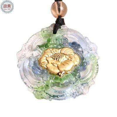 富貴牡丹-黃金琉璃項鍊