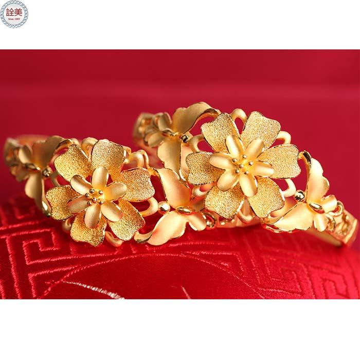 花團錦簇 黃金手鐲 (一對)