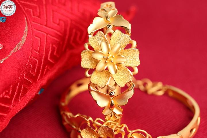 花團錦簇 黃金手鐲 (單只)