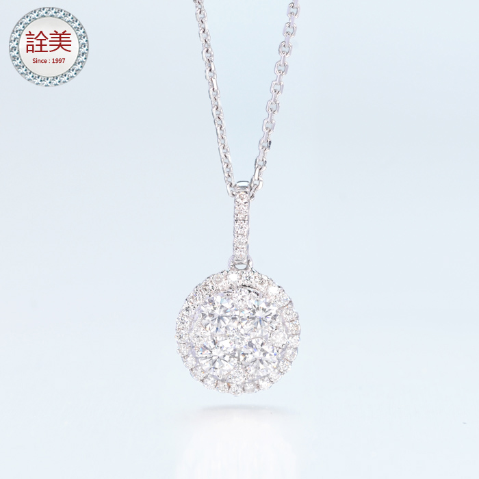 鉑金華麗群鑲鑽石項鍊