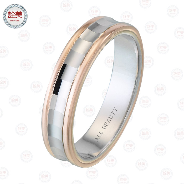 玫瑰金+鉑金雙色金戒指【男戒】