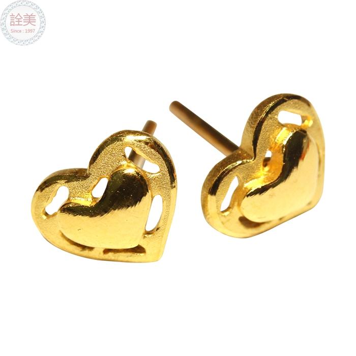 心型黃金耳環