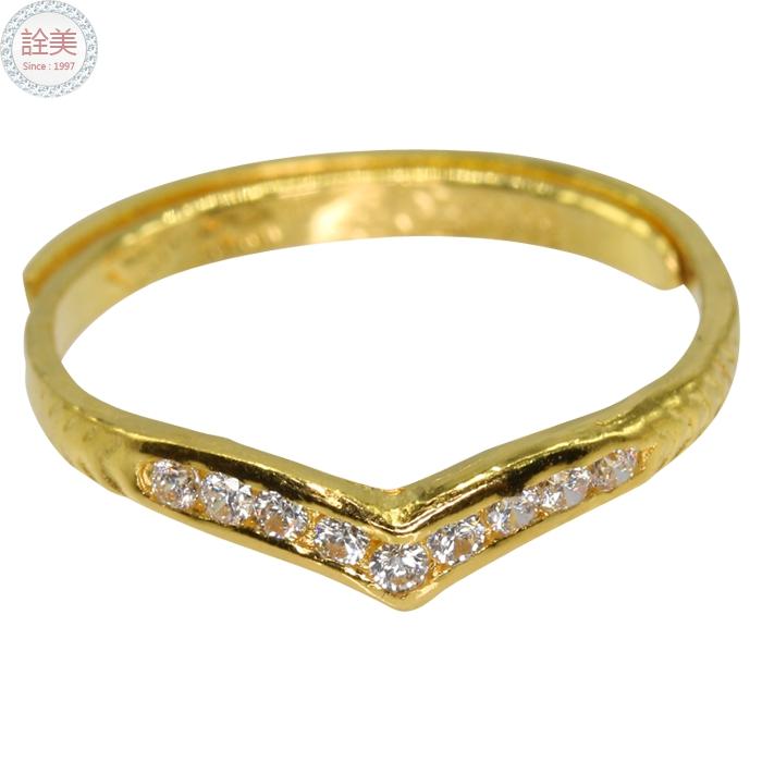 黃金尾指【CZ水晶鑽戒】